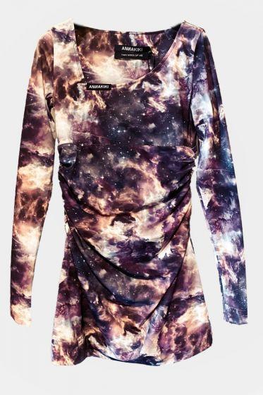 ANNAKIKI  -  Printed Pleated Stretch Dress