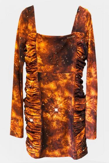 ANNAKIKI  -  Square Neck Puff Sleeve Dress