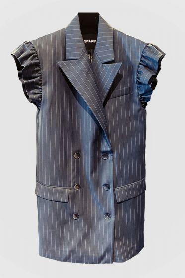 ANNAKIKI  -  Ruffle Sleeve Stripes Dress - Jacket