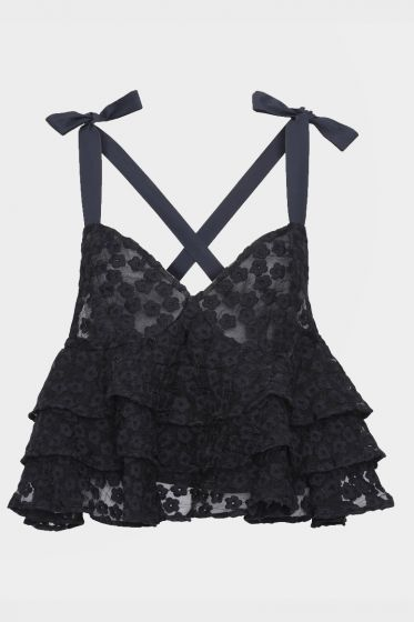 CUSTOMMADE   -  Odina BY NBS Black Lace Top