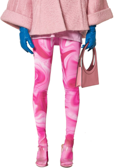 ANNAKIKI -  Printed Pink Foot Leggings