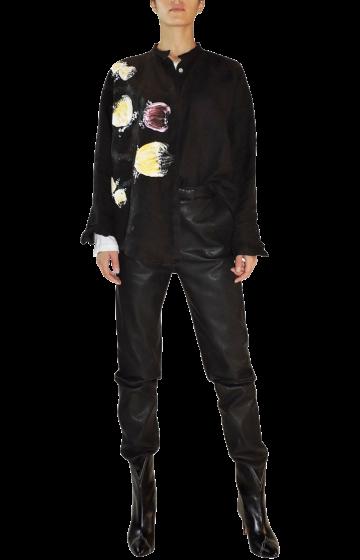 CHRIS  -  Precious Hand Made & Painted Black Shirt