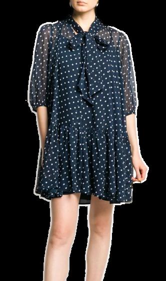 By TIMO -   Chiffon Bowtie Blue Dots Dress