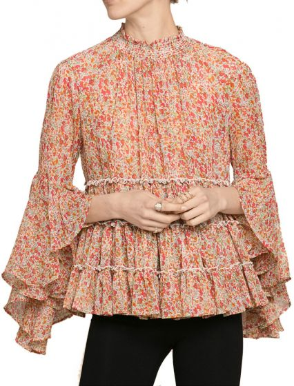 By TIMO -  Chiffon Blouse Sheer Flowers